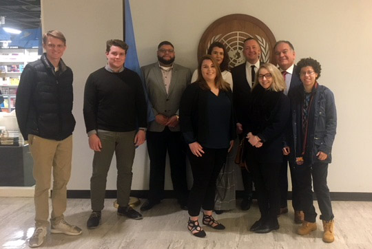 Professor Dr. Ghassan El-Eid brought a group of CCSU students to a meeting on April 13 at the United Nations headquarters in New York City.