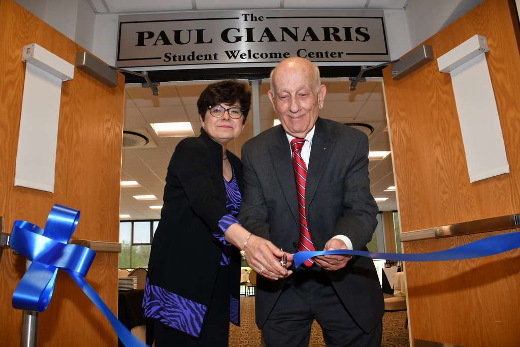 On May 10, university officials named the welcome center in Memorial Hall after friend, supporter, and alumnus Paul Gianaris, '70.