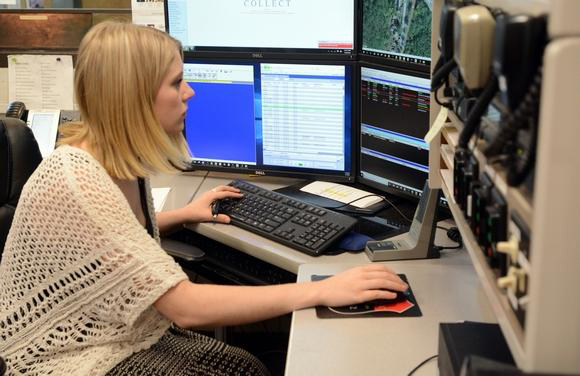 Criminal justice major Corrina Thompson is training as a dispatcher at the Plainfield Police Department.