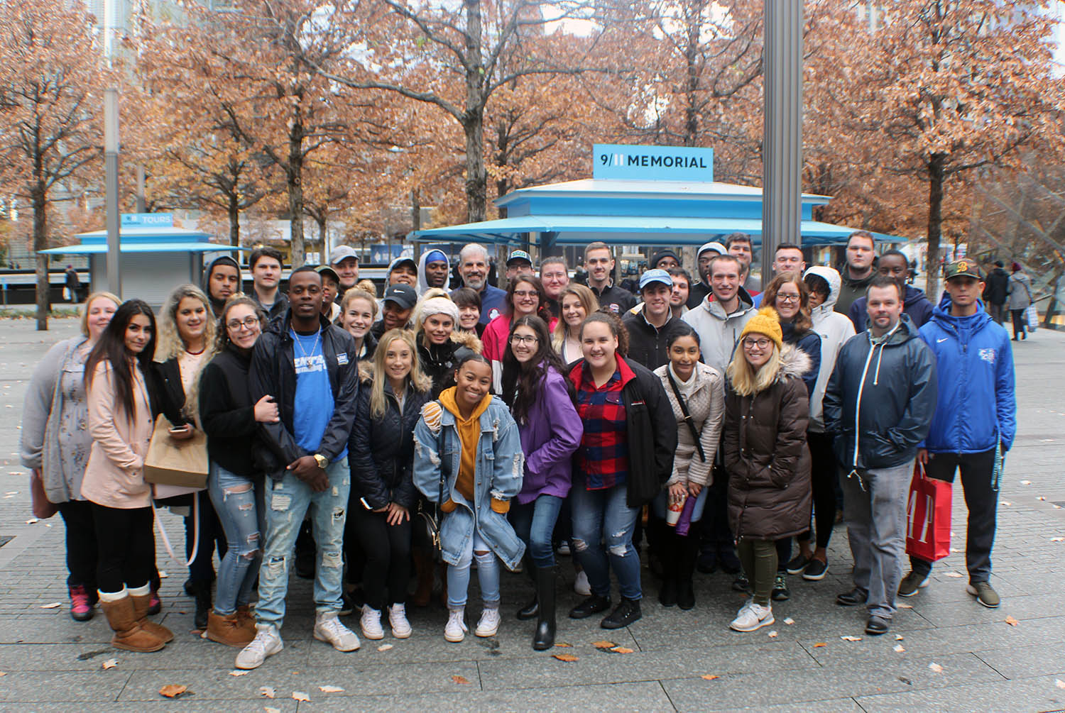 Students studying the cultural and historic aspects of the 9/11 terrorist attacks traveled to New York City to view the 9/11 Museum and Memorial.