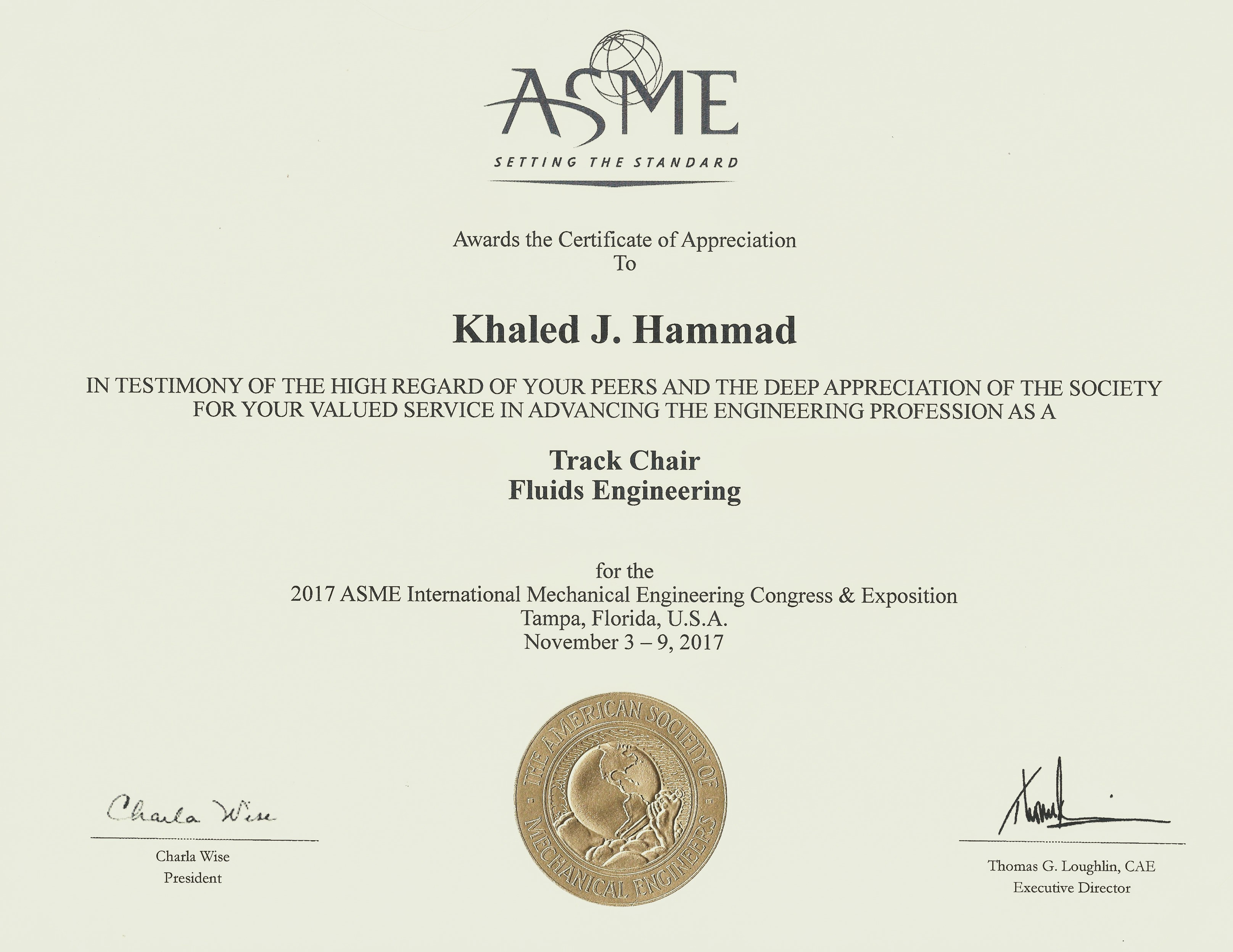 Ccsu khaled hammad american society of mechanical engineers asme certificate of appreciation for valued services in advancing the engineering profession as the xflitez Gallery