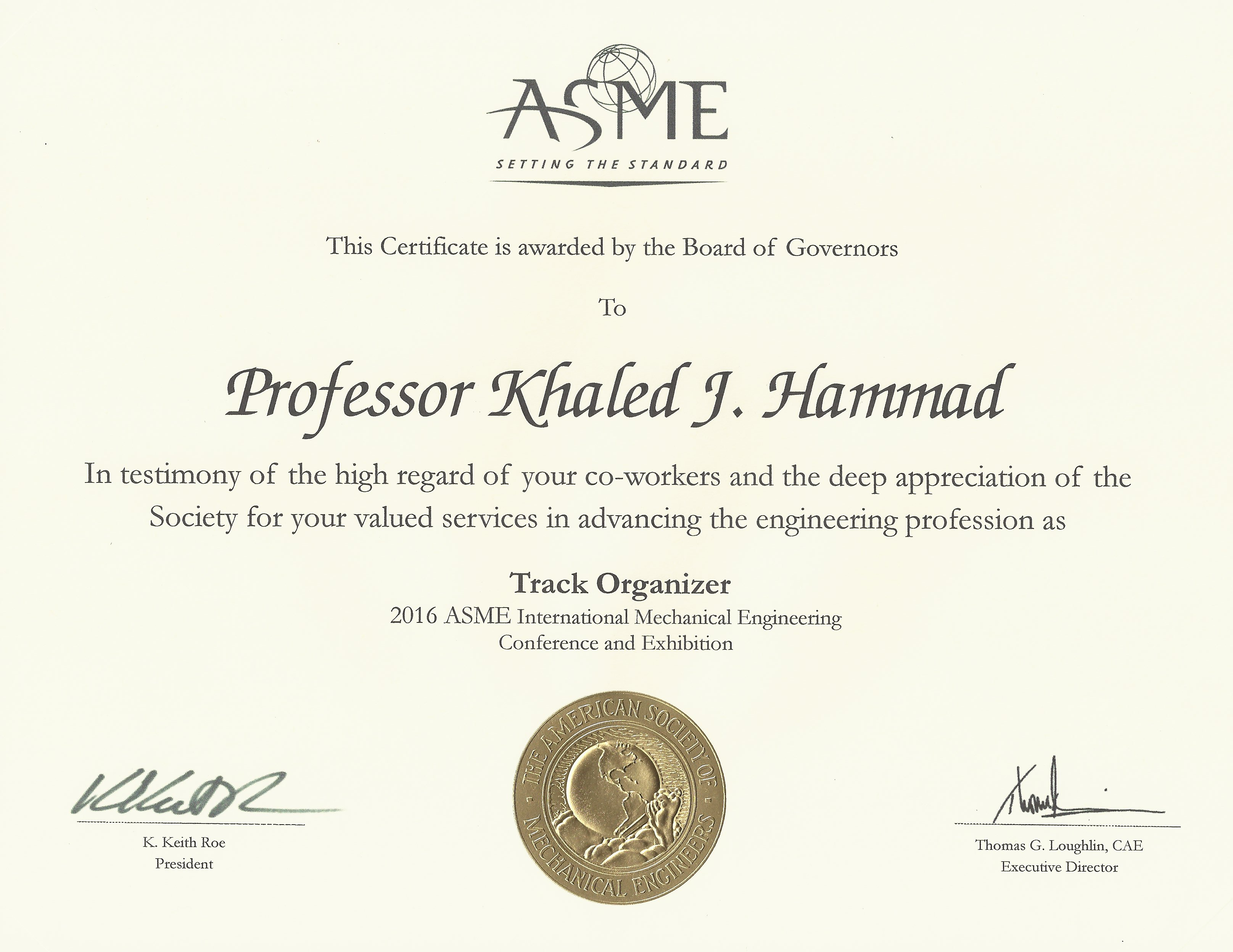 Ccsu khaled hammad asme certificate of appreciation for valued services in advancing the engineering profession as a xflitez Gallery