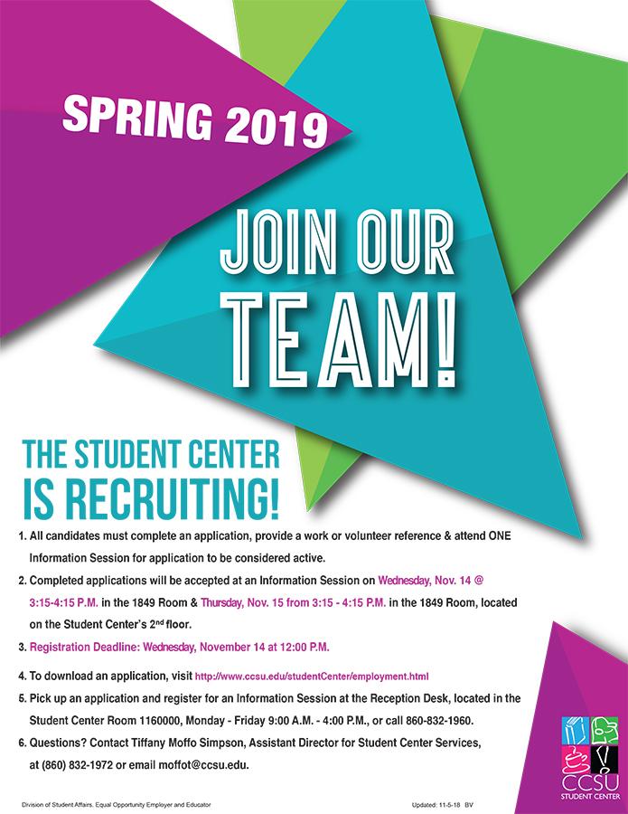 The Student Center is Recruiting for Spring 2019